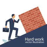 Hard work concept. Businessman lift weight up. Raise cargo. Vector illustration flat design. Isolated on white background. Efforts in work. Male pushes burden Stock Photo