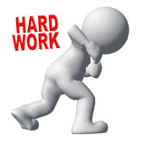 Hard work. 3d people - human character , person show hard work concept . 3d render Royalty Free Stock Images