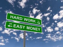 Hard work and easy money sign. Dual green sign post with text 'hard work and easy money' in uppercase white letters and with arrows pointing in opposite Stock Photography