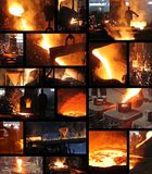 Liquid metal in the foundry - collage. Hard work in foundry, liquid metal in the foundry, melting iron in furnace, steel mill. Workers controlling iron smelting stock photography