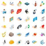 Hard work icons set, isometric style Royalty Free Stock Images