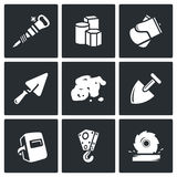 Hard work icons set. Vector Illustration. Stock Images