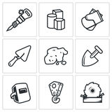 Hard work icons set. Vector Illustration. Stock Photo