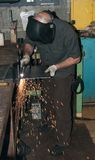 Hard at work in a metal fabrication shop Royalty Free Stock Photos