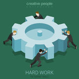 Hard work micro people spin cogwheel concept Royalty Free Stock Photography
