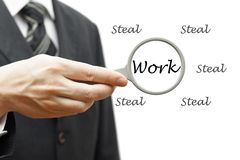 Hard Work not Steal - Business Concept with businessman and magn Stock Image