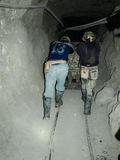Hard work in silver mines Stock Photo