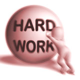 Hard Work Uphill Sphere Shows Difficult Working Labour. Hard Work Uphill 3D Sphere Showing Difficult Working Labour Stock Images