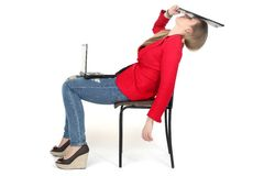 After hard work - woman relax on computer Royalty Free Stock Images
