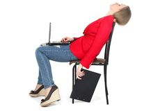 After hard work - woman relax on computer Royalty Free Stock Photo