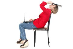 After hard work - woman relax on computer Royalty Free Stock Image