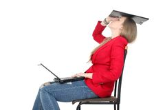 After hard work - woman relax on computer Stock Photo