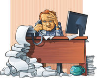 Hard workday of office employee. Tired and cruel office employee sits sit at the worker table, get the fax and speaks on telephone. Around it horrible disorder Royalty Free Stock Photography