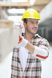 Hard worker on construction site Royalty Free Stock Image