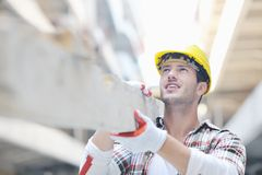 Hard worker on construction site Royalty Free Stock Photo