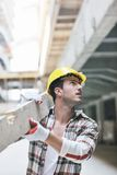 Hard worker on construction site Royalty Free Stock Images