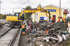Hard workers building the railway track royalty free stock photo