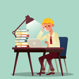 Hard working business man with pile of work on desk Stock Photo