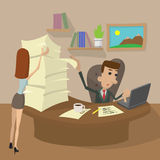 Hard Working cartoon concept Stock Images