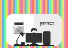 Hard working computer geek _ Colourful background Royalty Free Stock Image