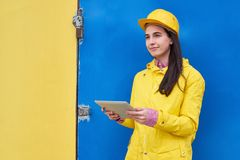 Hard-Working Engineer with Digital Tablet stock photography
