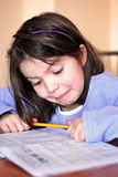 Hard-working girl. A portrait with girl doing school work Stock Images