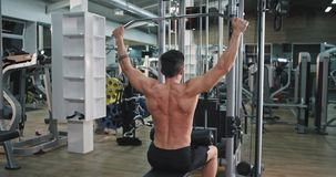 Hard working guy at gym doing exercises on his triceps muscles concentrated with a perfect muscle body working on gym. 4k stock footage