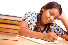 Hard Working Hispanic Girl Studying Royalty Free Stock Photos