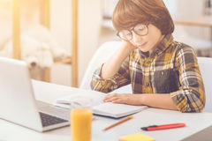 Hard working intelligent boy doing his homework. Preparation to school. Hard working intelligent nice boy sitting at the desk and reading his notes while doing stock images