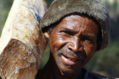 Hard working man carrying a tree trunk - MADAGASCAR Stock Photo