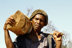 Hard working man carrying a tree trunk - MADAGASCAR Stock Photos