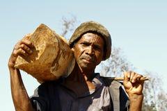 Hard working man carrying a tree trunk - MADAGASCAR Stock Photos