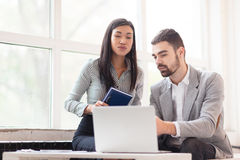 Hard-working Managers Sharing Ideas Stock Images