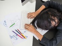 Hard working woman so tried Stock Image