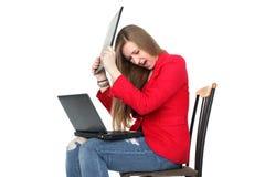 Hard working woman working on computer Stock Image