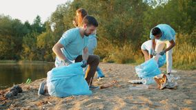 Hard-working young people doing voluntary work cleaning beach from garbage