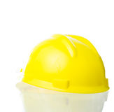 Hard yellow hat for industrial work, engineers, architect isolat Stock Photos