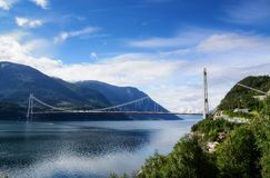 The Hardanger Bridge. The longest suspension bridge in Norway, 1380 metres crossing the Hardanger Fjord in western Norway Royalty Free Stock Photos