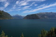 Hardanger fjord in norway in summertime royalty free stock photography