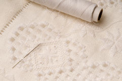 Hardanger stich. With a needle Royalty Free Stock Photos