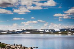 Hardangerjokulen glacier on top of Hardangervidda plateau Stock Photo