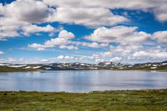 Hardangerjokulen glacier on top of Hardangervidda plateau Royalty Free Stock Photography