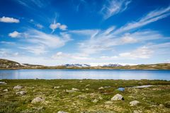 Hardangerjokulen glacier on top of Hardangervidda plateau. Stock Photos