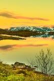 Hardangervidda mountain plateau in Norway. Sunset landscape in Hardangervidda, Europe highest mountainous plateau Stock Image