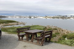 The Hardangervidda Plateau in Hallingskarvet National Park, Norway, Europe, with lake Ustevatn. Royalty Free Stock Image
