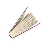 Hardback book. Stood on end looking down from the top. Isolated on white background with clipping path stock photography