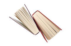 Hardback books. Two hardback books stood on end looking down from the top. Isolated on white background with clipping path royalty free stock photography