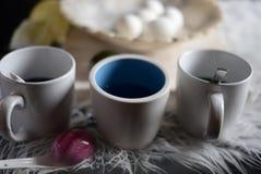 4 hardboiled jajka na marmurowym pucharze Obrazy Stock