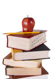 Hardbound Book Stack with Apple and Pencil Stock Photography