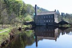 Hardcastle Craggs och Gibson Mill, i den Hebden bron Royaltyfria Foton